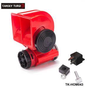 TANSKY- 자동차 오토바이 트럭 12V 레드 컴팩트 듀얼 톤 전기 펌프 공기 시끄러운 혼 자동차 사이렌 TK-HOM043