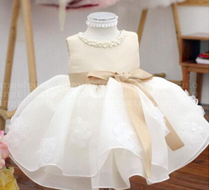 Şampanya Yaz Bebek kız TUTU Elbiseler 1. doğum günü Parti için, Vaftiz vestidos, bebek düğün kıyafeti
