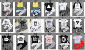 150Style Baby INS fox stripe lettera Si adatta ai bambini Toddler Infant Casual Breve manica lunga T-shirt + pantaloni 2 pezzi set pigiami vestiti appena nati