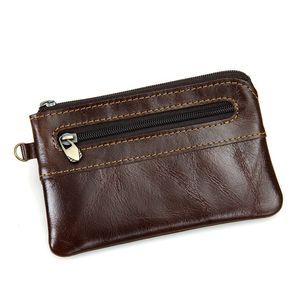 Couro genuíno Key Carteiras Homem Mulheres Carteiras Purse couro real Coin Purse para Titular Homens Zipper Key Vintage Bag Bolsa Porta-moeda