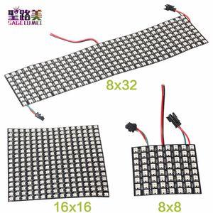 الجملة 8 * 32 16 * 16 8 * 8 مصفوفة رقمية RGB LED WS2812B RGB LED وحدة بكسل عنونة بشكل فردي 2812 بكسل ضوء الشاشة لوحة الإضاءة