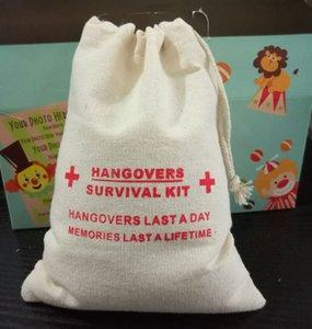 Kit de cadeau de lin gueule de bois sac 15x21cm Party Candy Favor sac de maquillage bijoux cordon pochette