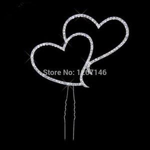 Toptan-Bir PC Düğün Dekorasyon Popüler Yeni Beyaz Rhinestone Güzel Çift Kalp Şekli Kek Topper 1Oi8