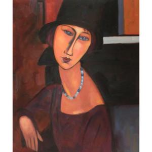 Şapka ve Kolye ile Jeanne Hebuterne Amedeo Modigliani Resimlerinde aRT Kadın soyut sanat Yüksek kaliteli El boyalı