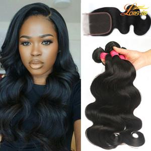 Завод 4x4lace закрытия 100% необработанный бразильский тела волна человеческие волосы 4Bundles с дешевые кружева закрытия лучшее качество натуральный цвет