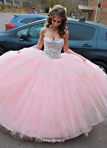 Pink Long Quinceanera Dress Cheap Ball Gown Beaded Crystal Tulle Sweet 16 Special Occasion Dress Party Gown Custom Made Plus Size