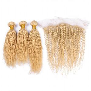 Кудрявый вьющиеся светлые волосы с кружевом фронтальная перуанский девственные волосы 3 пучки с кудрявый вьющиеся уха до уха кружева фронтальная 4 шт./лот
