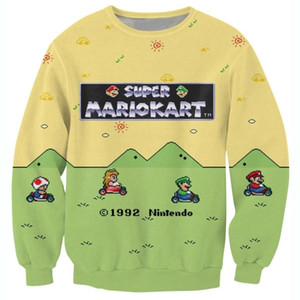 Gros-Raisevern Nouveau style Super Mario Kart Sweat à encolure ras du cou adorable Toad Princess Peach Luigi Print Sweats impression 3D Hoodies