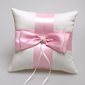 Almohada de anillo Ceremonia de boda 2019 Venta caliente Rosa de marfil Portador de almohada con arco grande 19 cm * 19 cm Almohada de anillo