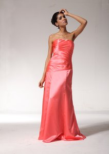 A-Line Strapless Ruffled Long Lace up Floor Length Elastic Satin Formal Evening Dress Bridesmaid Prom Gowns