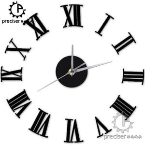 Gros- chiffres romains Quartz numérique bricolage modernes Horloge acrylique Horloge murale Vintage Salon Maison Décoration auto-adhensive Retro Wall Clock