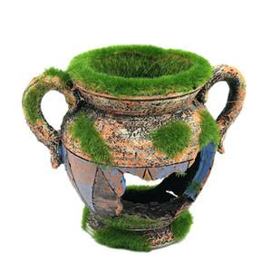 12pcs Vaso di resina con accessori di decorazione acquario muschio per pesci gamberetti serbatoio paesaggio ornamenti decorazione della casa