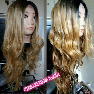 ombre blonde Human Hair Full Lace Wig Blonde Ombre Lace Front Wig Body Wave Two Tone dark root human hair wig