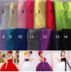 9 pollici Baby Girl Crochet Tutu Tube Tops Chest Wrap Wide Fasce per capelli all'uncinetto Vestiti color caramella 23cm X 20cm
