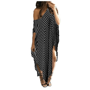 Hot Sale Women's fashion sexy strapless dress Summer women's clothing casual irregular stripes Party Dresses plus size 3XL yw-039