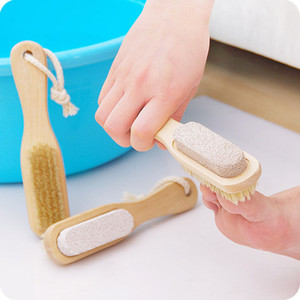 New Bath Mane Setole Clean Feet Brush Wooden Pomice Stone Piedi Pedicure Callo Rimozione Cura del piede Spa Brush Remover Dead Skin Clean WX-T08