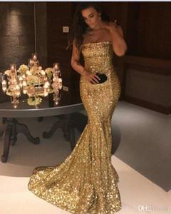 Удивительные золотые блестками платья вечерняя одежда последние 2017 без бретелек Русалка суд поезд розовый пром вечер Dressess