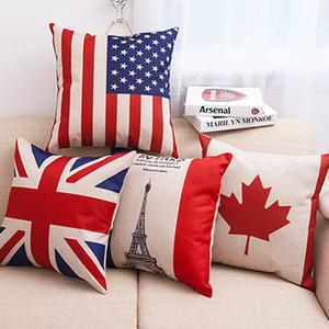 DHL Algodão Travesseiros De Linho Lance Fronha Covers EUA REINO UNIDO Bandeira França Canadá Folhas Fronha Capas de Almofada Home Decorations 18 * 18 polegadas