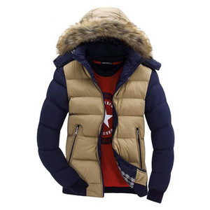 Wholesale- Fashion Mens Fur Hooded Down Parka Slim Fit Thick Warm Winter Jackets For Male Size M-XXXL Casual Puffer Coats With Hood Q2558