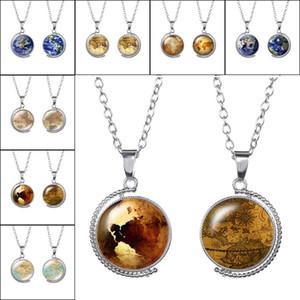 Doppelseite Erde Weltkarte Tellurion Ozean Drehbare Glas Halskette Kuppel Halsketten Anhänger für Frauen Dame Schmuck Geschenk