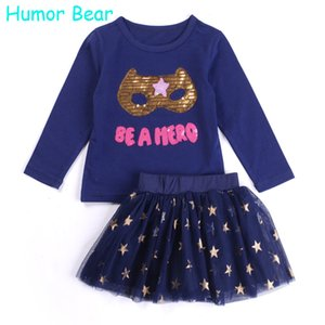 Atacado-Humor Bear Baby Girl Roupas Set New Lantejoulas Carta manga comprida T-Shirt + Stars Skirt 2PCS Girl Clothing Sets Roupa Infantil
