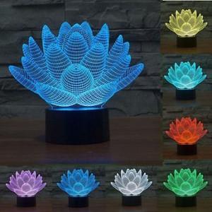 로터스 플라워 3D LED 유령 야간 조명 7 색 변경 터치 스위치 데스크 테이블 조명 램프 생일 선물