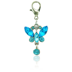 JINGLANG Butterfly Charms With Lobster Clasp Dangle Lake Blue Animal Pendants DIY Charms For Jewelry Making Accessories