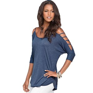 Wholesale- 2016 Hot Women Cutout Design Round Neck T Shirt Casual Loose Off Shoulder Tops Tees New Arrival