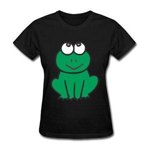 Çömelme Kurbağa Sıcak Stil kadın T-shirt Moda Normal Omuz Kısa kollu ve Ekip Boyun Pamuk T-shirt