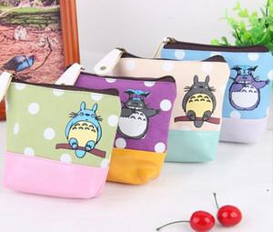 Al por mayor de Kawaii NUEVA PU inferior 12 * 12 cm 4Colors- Mi Vecino Totoro monedero carpeta de la bolsa del bolso del caso; Las mujeres de maquillaje caja del sostenedor del bolso del bolso
