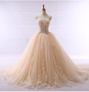 Latest! Strapless Illusion Bodice Sexy Champagne Wedding Dresses Bridal Gowns Lace Appliqued Tulle High Quality Real Design Wedding Gowns