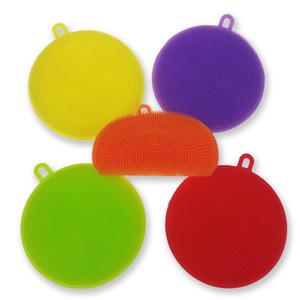 Brosses de nettoyage créatives résistantes à la chaleur pour la cuisine Outils de nettoyage Colorés Circulaires Silicone Fruits Légumes Vaisselle Brosse 3 3ad C