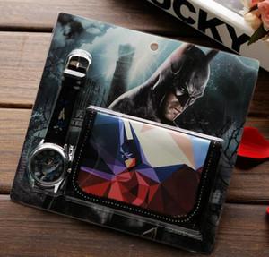 Toptan lot Batman çocuk Setleri izle ve cüzdan çanta bilek kuvars Noel Çocuk hediye Erkekler Kızlar Karikatür saatler