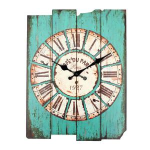 Venta al por mayor- Diámetro 29cm Vintage Rústico Oficina de madera Cocina Casa Coffeeshop Bar Gran reloj de pared Decoración 41x35x45cm