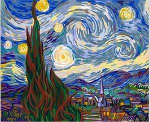 Incorniciato Pure Handpainted The Famous Abstract Art Pittura ad olio di Van Gogh, su tela di alta qualità Home Decor Wall Art Multi dimensioni