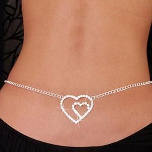 Gorgeous Wedding Belly Chain Silver Tone Heart Butterfly Rhinestone Cadena de la cintura Belly Dance Chain Regalos Cadenas de cuerpo nupcial