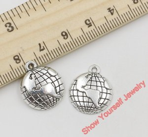 Wholesale-20pcs Antique Silver Plated Zinc Alloy Global Map Charms Pendants for Jewelry Making DIY Handmade Craft 20x16mm A303