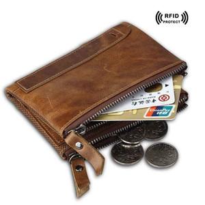 Crazy Horse Couro Rfid Blocking Wallet para Titular de Cartões de Crédito de Alta Qualidade Dupla Zipper Designer Coin Purse 2017 Tendência Saco de Dinheiro dos homens