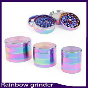 Bonito 40/50/55/63mm Rainbow Grinder 4 Peças Moedor De Liga de Zinco Tabaco Herb Grinder fit torção de vidro sem corte 0266135