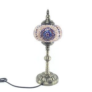 Mediterranean retro romantic personality creative bedroom bedside glass Turkey desk lamp