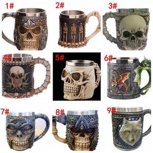 3d guerrier crâne guerrier tankard Viking crâne bière bière tasse 3d crâne dragon café tasse à thé tasse tasse en acier inoxydable 9 conception KKA1779