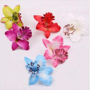 8 cm de seda Tailandia orquídeas florales cabezas; flores artificiales de seda para la decoración de la boda, bricolaje sombreros HJIA1063