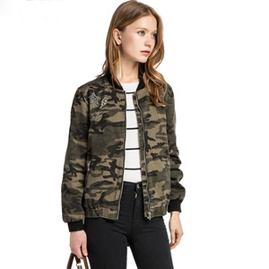 Military Jacket Women Fashion Army Green Denim Bomber Jackets Women Cami Print Jacket Basic Veste Jeans Jacket Femme
