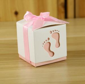 Pies de corte láser Baby Shower Favor Gift Birthday Candy Box Cinta gratis para el cumpleaños de la boda Caja de regalo de la fiesta de Navidad