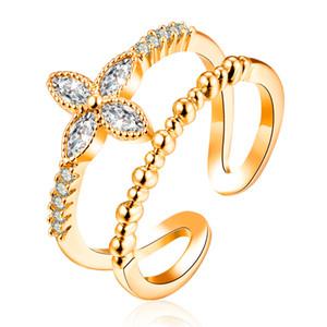 여자를위한 조절 가능한 반지 여자 설정 포장 큐빅 지르코니아 패션 웨딩 신부 약혼 꽃 커프스 핑거 링 보석 도매