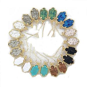 대량의 새로운 Druzy 샹들리에 귀걸이 여성 천연 석재 구리 드롭 매달려 귀걸이를 들어 여자 패션 쥬얼리