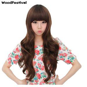 WoodFestival long ondulé perruque filles de mode perruques synthétiques marron noir frange bangs naturel pas cher cheveux perruque fiber