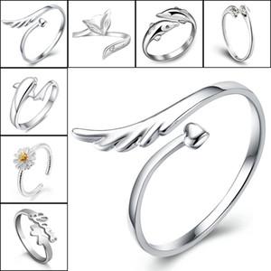 925 anillos de plata esterlina Jewerly Dolphins Dragonfly del ángel amor Fox apertura de la mariposa anillo ajustable para mujeres 080158