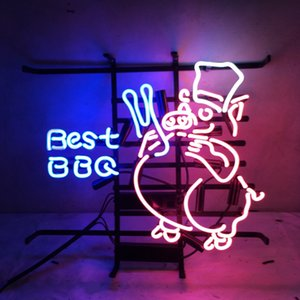 """17 """"x14"""" TUBO BEST BBQ maiale rosa HANDCRAFTED CUSTOM REALE DI VETRO NEON LUCE BIRRA BAR PUB CLUB RISTORANTE DISPLAY segno"""