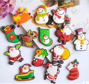 Home 5cm Cartoni animati Magneti per frigorifero in PVC Calzini natalizi Babbo Natale Pupazzo di neve Alci Frigo natalizio Decorazioni per regali di Natale